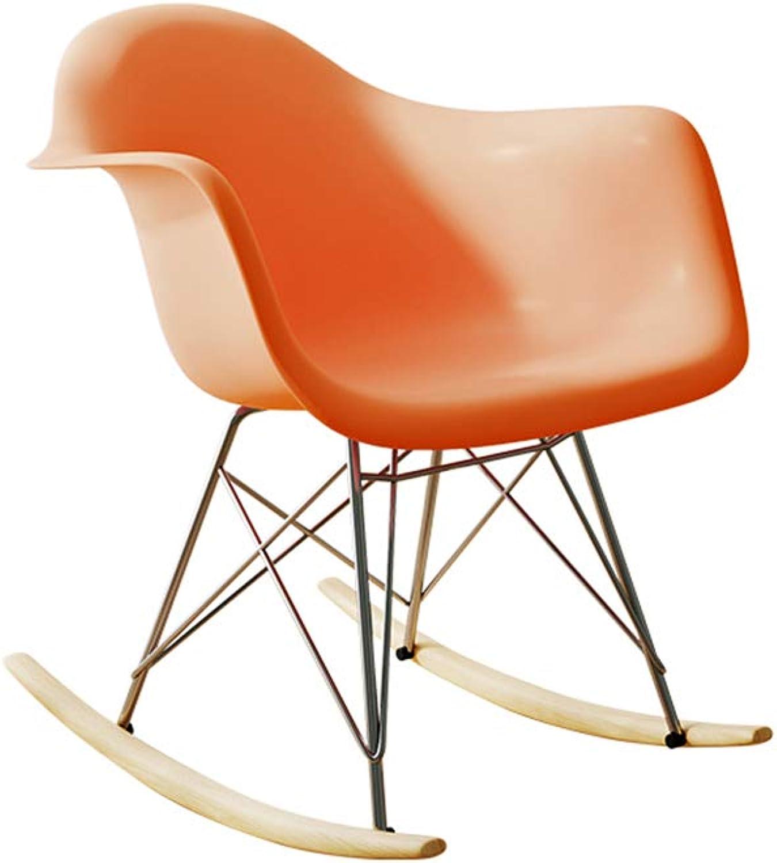 Nordic Single Rocking Chair, Lazy Nap Relax Terrace Patio Armchair Multicolor 425 (color   orange)