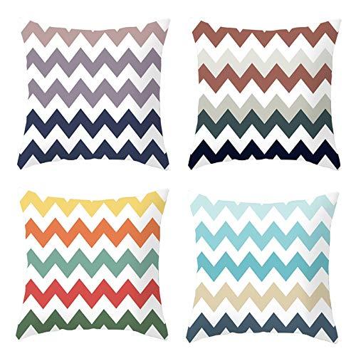 AmDxD Funda de almohada de poliéster de 50 x 50 cm, fundas de almohada cuadradas de línea ondulada, juego de 4, colorido