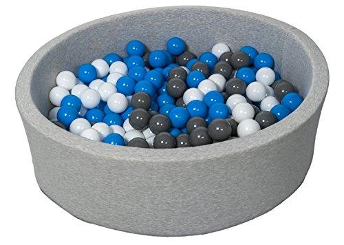 Velinda Piscine a balles pour Enfant, Aire de Jeu + 300 balles (Couleurs des balles: Blanc, Bleu, Gris)