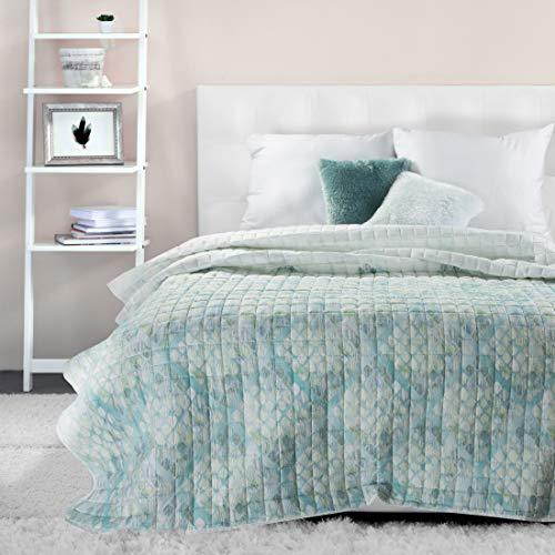 EUROFIRANY gewatteerde deken sprei wit groen mint meerkleurig geruit sprei 200 x 220 cm gewatteerde geometrische patronen bankdeken slaapkamer woonkamer modern