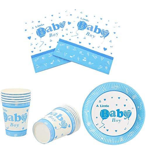 Baby Shower Stoviglie USA E Getta Set - per Una Its a Boy Bambino Battesimo (20 Persone)