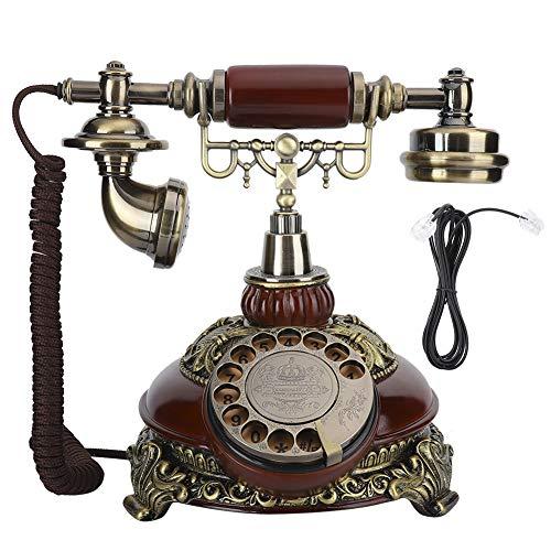 YUN Teléfono Europeo Vintage Resina Tocadiscos Dial Bronce Antiguo Decoración De Doble Propósito