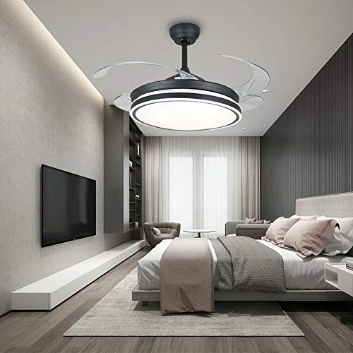 TFCFL Ventilador de techo con tiras de 36 W, iluminación LED, ventilador telescópico, luz regulable, 3 velocidades y temperaturas de color, lámpara de araña silenciosa con mando a distancia