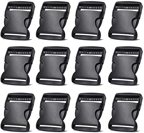 12 Pack Plastic Buckles 2 Inch Adjustable Quick Side Release Buckles for Dog Collars, Webbing Strap and Backpack Repair (Black)