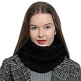 Bufanda de lana de invierno tipo cuello suave y cálida para mujer con diseño de punto - Negro