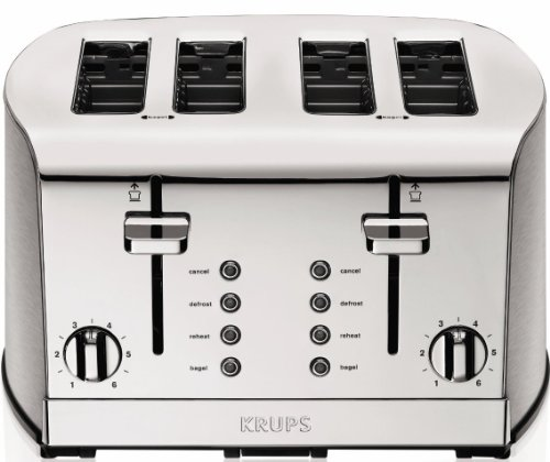 KRUPS KH734D Breakfast Set 4-Slot Toaster with Brushed and Chrome Stainless Steel Housing, 4-Slices...
