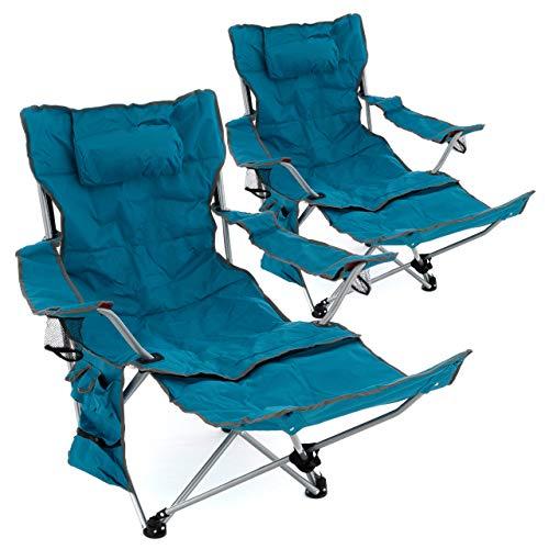 Nexos 2er Set Campingstuhl Luxus Campingliege gepolstert abnehmbare Fußstütze verstellbar Armlehnen 2 Getränkehalter Kopfkissen 100 kg Polyester Stahlgestell blau faltbar