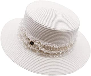 Hats Black and White Straw Hat Female Flat Top Sunscreen Seaside Holiday Shade Hat Fashion (Color : White, Size : 56-58cm)