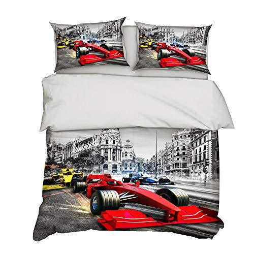 BHFDCR Bettbezug Bettwäsche Set 3 Teilig Formel F1 3D Digital Print 135 x 200 cm Weiche Bettwaren aus Mikrofaser Mit Reißverschluss 1 Bettbezug + 2 Kissenbezug, Schlafkomfort