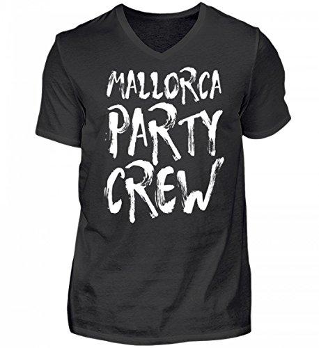 Hochwertiges Herren V-Neck Shirt - Mallorca Party Crew - Witziges Saufen Feiern Spruch T-Shirt für Partyurlaub auf Malle