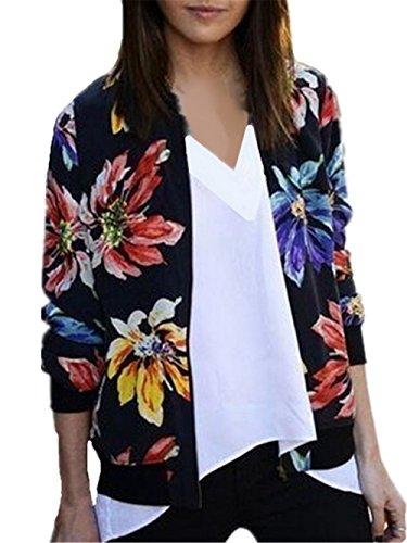 Chaqueta Delgada Mujer Bonitas Manga Larga Flores Impresión Elegante Jacket Hipster Top Sudaderas Vintage Outwear