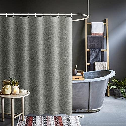 Gardiner för badrum tjock grå dusch gardiner imitation linne tyg Vattentät bad gardiner för badrum badkar stort stort modernt badkåpa 72 x 72 inches