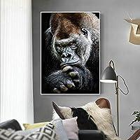 動物のポスターとプリント黒思考ゴリラ壁アートキャンバス絵画壁の写真寝室の装飾-50x75cmx1フレームなし