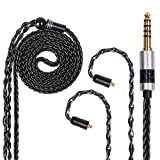 FDBRO 8 Cores Silver Plated Earphone Cable Metal Plug with Carbon Fiber Upgrade Cable for Mania Ear-Hook Type Replacement Cable for SE215 SE315 SE425 SE535 SE846 UE900 FH1 F9 (MMCX, Black+4.4mm)