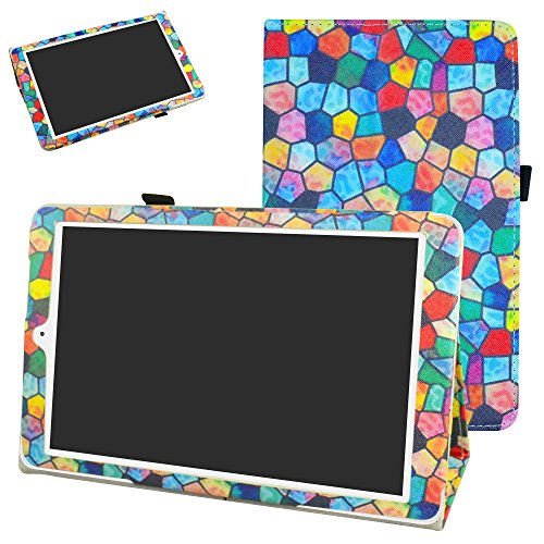 Alcatel Onetouch PIXI 3 (10) Funda,Mama Mouth Slim PU Cuero Con Soporte Funda Caso Case para 10.1' Alcatel One Touch Pixi3 10 Android Tablet,Stained Glass