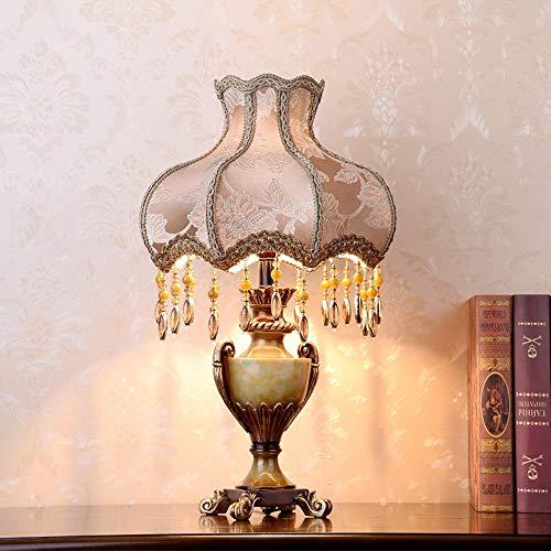 MGWA lámpara de mesa de estilo europeo Dormitorio Mesita de Noche Lámpara Niña Princesa Sala Pastoral Encaje Tela Decorada Lámparas Cálido Mesita de Noche Lámpara de Escritorio 33 * 53cm
