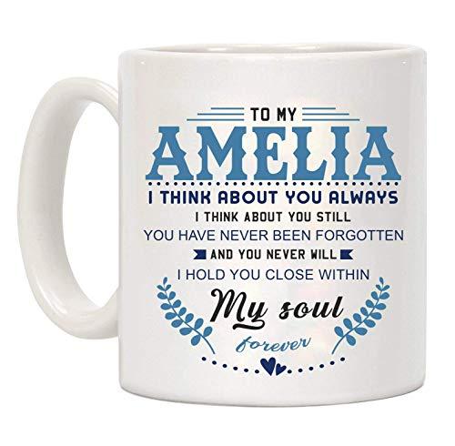 N\A Taza de café Divertida para el día de San Valentín, para mi Amelia Pienso en ti Siempre pienso en ti Aún Nunca te han Olvidado y Nunca te abrazaré Dentro de mi Alma, Taza