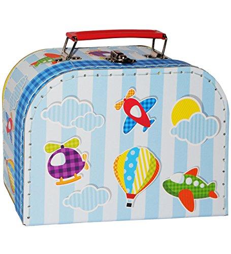 alles-meine.de GmbH 1 Stück _ Koffer / Kinderkoffer - KLEIN -  Flugzeuge - Helikopter - Heißluftballon  - 20 cm - Pappkoffer - Puppenkoffer - Kinder - Pappe Karton - Flugreise ..