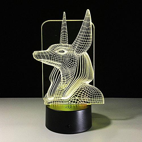 Egyptische 3D-Lamp 1 Stuk 16 Kleuren Veranderen Illusie Kleur Veranderen Tafellamp met Zwarte Touch Basis Decoratie Nachtlampje