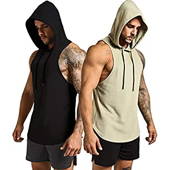 GYM REVOLUTION Men s 2 Pack Workout Hooded Tank Top Cut Off Bodybuilding Muscle Shirt Hoodies Gym Pullover Sleeveless T-Shirts Black Green M