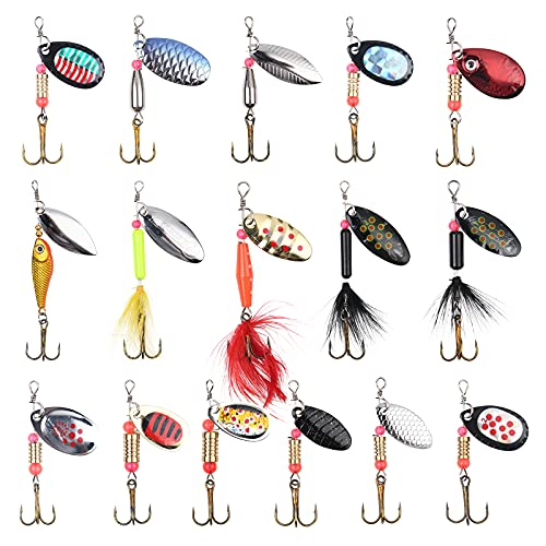 Vicloon 16 Piezas Señuelos de Pesca Kits con Ganchos Cebos Cebo de Pesca Señuelos De Cucharilla de Pesca Spinner Cebo para la Trucha,Lucio Perca Trucha Pike Salmon Bass