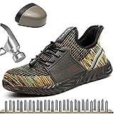 HOAPL  Zapatos de Seguridad Gorro de Trabajo Transpirable y Desodorante para Hombres Zapatos de Seguridad con Punta de Acero Zapatos antichoque Zapatillas antipinchazos,Verde,42