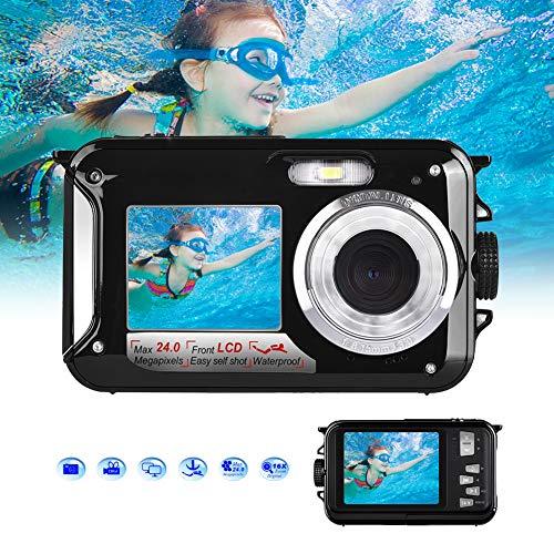 Fotocamera Subacquea Digitale FULL HD 1080P per Snorkeling Fotocamera Impermeabile da 24,0 MP Macchina Fotografica Subacquea con Doppio Schermo (Nero)