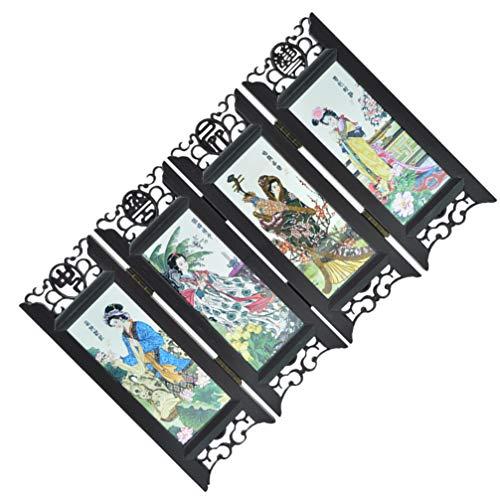 PRETYZOOM Panel de Pantalla Pequeño Plegable Chino Retro Mini Pantalla de Madera Decoración Chino Clásico Oficina en Casa Escritorio Pantalla Retro Regalo