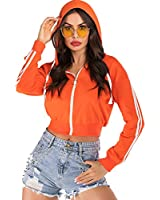 Womens Zip up Crop Hoodie Top Casual Workout Long Sleeve Sweatshirt Orange L