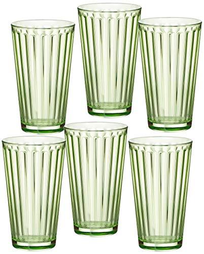 Ritzenhoff & Breker 807035 Longdrinkgläser-Set Lawe Stripes, 6-teilig, je 400 ml, Hellgrün, Glas, 400 milliliters