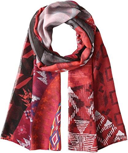 Desigual Foulard_Rectangle Scotland Chal, Rojo (KETCHUP 3093), Talla única (Talla del fabricante: One size) para Mujer