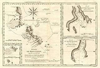 Terre de Kerguelen… Isle de la Désolation. Kerguelen Island. BONNE - 1790 - Old map - Antique map - Vintage map - Printed maps of Antarctica