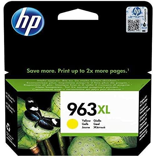HP 963XL 3JA29AE Cartuccia Originale, ad Alta Capacità, da 1.600 Pagine, Compatibile con le Stampanti a Getto d'Inchiostro HP OfficeJet Pro Serie 9010 e HP OfficeJet Pro 9020, Giallo