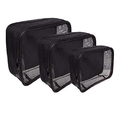 SHANY Assorted Size Cosmetics Travel Bag - Black Mesh Make Up Bag/Organizer - 3PC