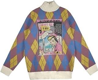 Y2k Argyle Jersey vintage de punto de manga larga suéter de cuello alto ropa indie estética jersey tops Streetwear (color:...