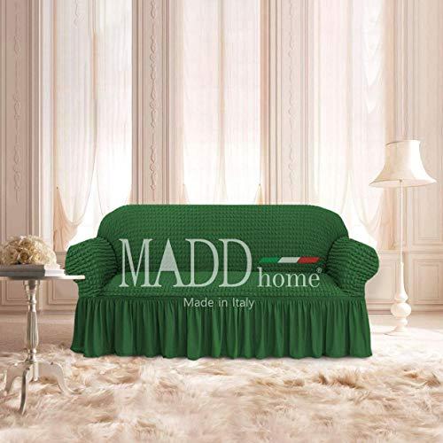 MADD home Copridivano con Gonna Balza Voilà elasticizzato Poltrona 2 Posti 3Posti 4 Posti Made in Italy (Verde, Poltrona (estendibile fino a 120cm))