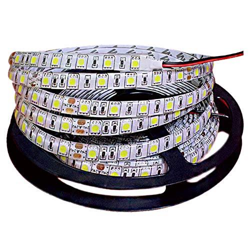 Tesfish 5m/rollo DC 24V 5050 Tira de LED de color blanco Impermeable IP65 300 LEDs Tira de LED de SMD 5050