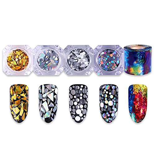 Born Pretty Nail Art Decoration Set-4Boxes Nail Sequins and 1Roll Foil Transfer Sticker Kit Silver Holographic Starry Sky Manicure