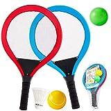 Buyger 2 en 1 Portátiles Raqueta de Tenis Badminton Racket Juguetes para Niños Deportivo Interior Exterior Playa Jardín Juegos Regalo para Niños Niñas 3 4 5 Años - Rojo, Azul