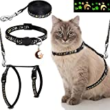 Frienda 3 Pieces Cat Harness with Leash and Collar Set Adjustable Soft Escape Proof H Shaped Safety Strap with Golden Moon Glowing Star in The Dark for Kitten