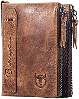Leather Wallet for Men RFID Blocking Cowhide Leather Wallet with Double Zipper Pocket