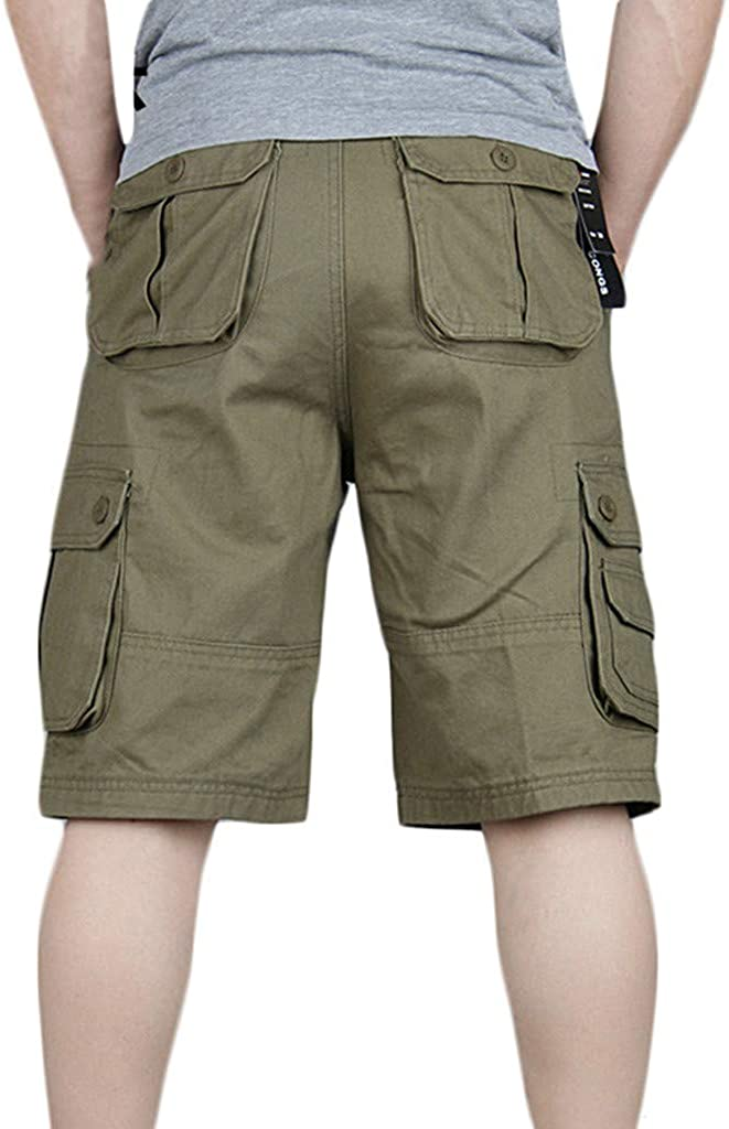 MODOQO Relaxed Fit Lightweight Multi Pocket Casual Straight Twill Cargo Shorts for Men