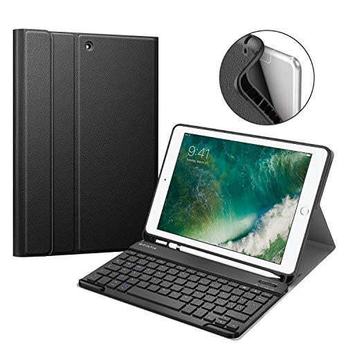 Fintie Keyboard Case for iPad 9.7 2018 with Built-in Pencil Holder, [SlimShell] Soft TPU Back Protective Cover w/Magnetically Detachable Wireless Bluetooth Keyboard for iPad 6th Gen, Black