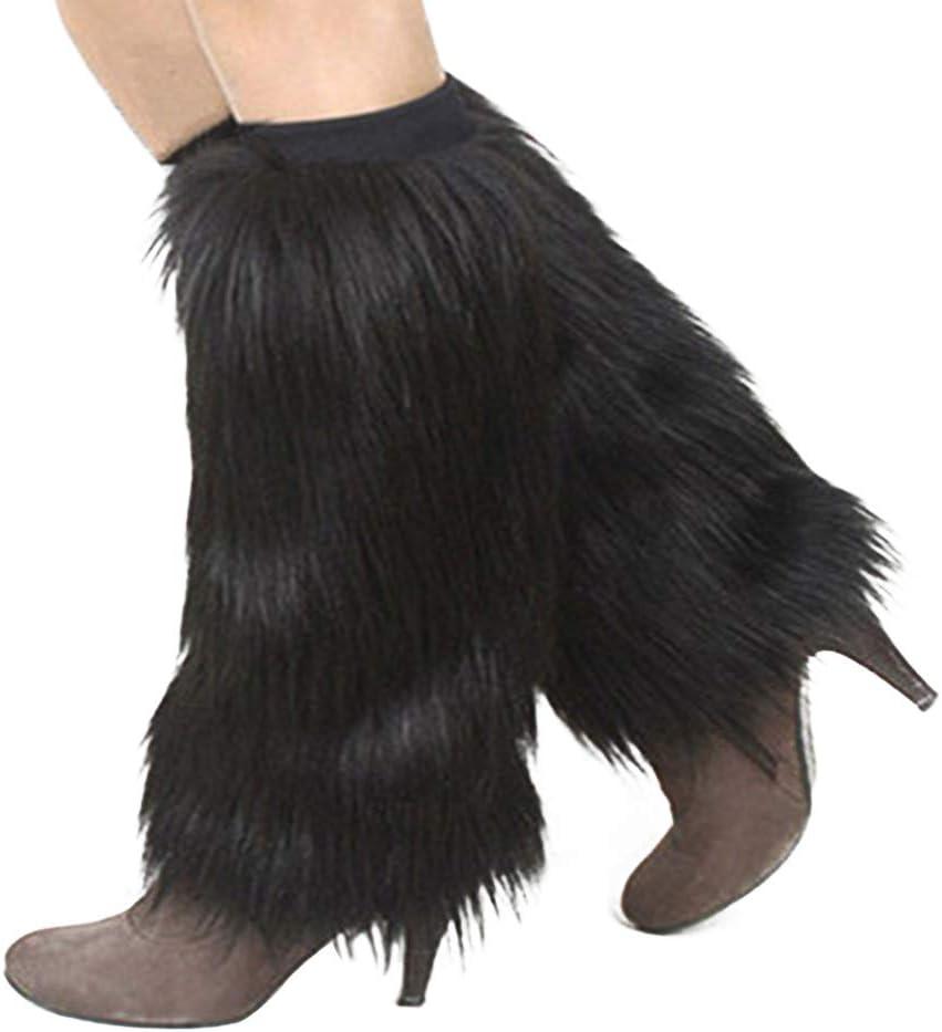 bromrefulgenc Winter Leg Warmer Winter Knitted Warm Boot Thigh High Socks Solid Color Women Boot Covers Warm Furry Faux Fur Leg Warmers Black 15cm