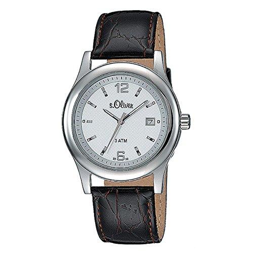 s.Oliver Herren-Armbanduhr Analog Quarz Leder SO-15074-LQR