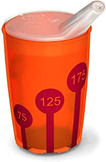 Ornamin Non-Slip Cup with Scale 220 ml Orange-Transparent/Red and Spouted Lid (Model 820 + 806) / Drinking aid, Cup for The Care, Children's Cup, Cup Elderly