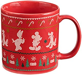 Vandor 89161 Disney Mickey Mouse Ugly Sweater 20 Ounce Ceramic Mug, Red