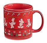 Vandor Disney Mickey Mouse Ugly Sweater 20 Ounce Ceramic Mug, Red