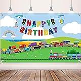Decoraciones de Fiesta de Cumpleaños de Transporte Banner Fondo de Tráfico para Niños Cabina de Fotos de Fiesta Temática de Coche Autobús Tren Avión Barco Decoración de Mesa de Pastel