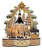Wichtelstube-Kollektion Holz LED Tisch Schwibbogen mit Timer Seiffener Kirche im Erzgebirge